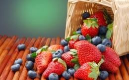 Basket of strawberries and blueberries