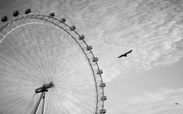 Black and white photo wallpaper with a Ferris wheel.