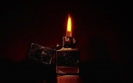 Burning Zippo lighters