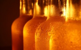 Chilled beer in bottles