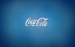 Coca Cola brand logo on a blue background
