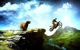 Escape from the bear on a motorcycle