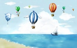 Excellent painted wallpaper sea, ship and balloons