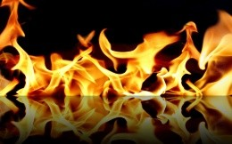 fire and flames reflected