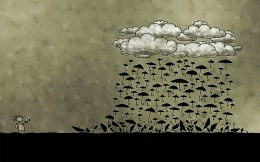 Funny and creative vector wallpaper, clouds and rain in the form of umbrellas