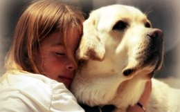 Girl and Labrador