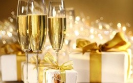 Glasses of champagne and gifts sealed