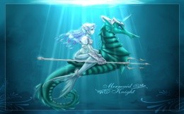 Image Wallpapers - mermaid on seahorses, science fiction, fantasy, fairy tale