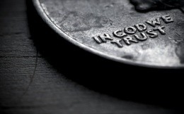 in god we trust, coin, black-and-white photo
