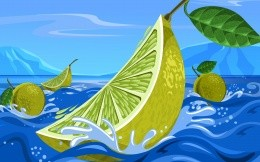 Lemon in the sea, vector illustration for your desktop