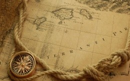 Old map with a compass and rope wallpaper.