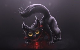Painted black cat with a ball