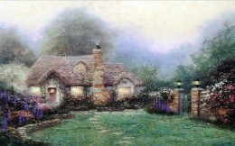 Painting of Thomas Kinkade, a house of stone wall