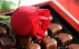 rose and box of chocolates