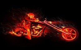 skull on fire by motorcycle