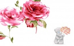 Teddy bear and pink flowers