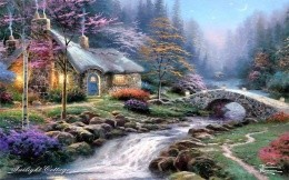 Thomas Kinkade - a house in the small but fast-flowing river