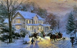 Thomas Kinkade - a meeting of the new year in a country estate