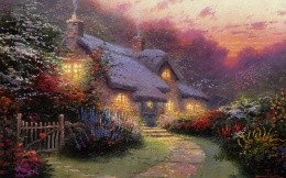 Thomas Kinkade - a picture of a house in the village