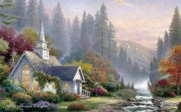 Thomas Kinkade beautiful home on the banks of the creek