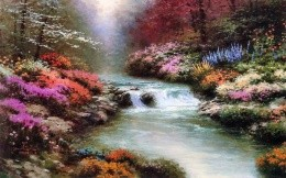 Thomas Kinkade - beautiful nature and mountain river with rapids