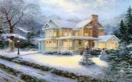 Thomas Kinkade - Christmas house and snowman