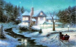 Thomas Kinkade - country house and pulling up the sleigh