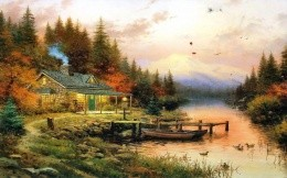 Thomas Kinkade - house on the banks of the river