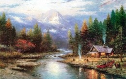 Thomas Kinkade - hut forester, forest, river