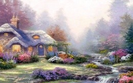 Thomas Kinkade - maleky stone house and a mountain stream