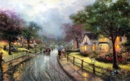 Thomas Kinkade - the street of small town