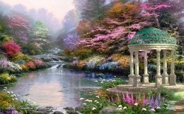 Thomas Kinkade, wonderful garden