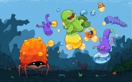 Underwater madhouse - creative vector wallpaper