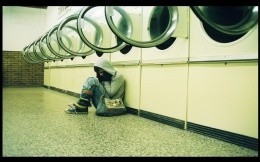 Washing machine and a girl - the theme of loneliness - wallpaper