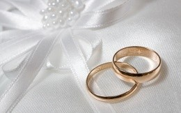 Wedding rings on a white cloth