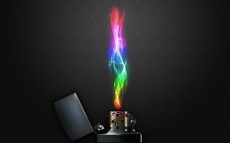 Zippo lighter colored flame