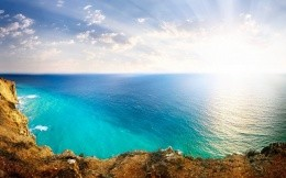 Beautiful turquoise sea, the view from the cliff