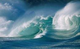 Image of blue sea waves