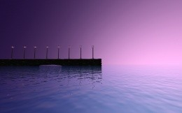 Pier with lanterns at dawn and endless sea