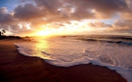 Sea Sunset and foaming waves, wallpaper