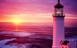 Sea sunset lighthouse