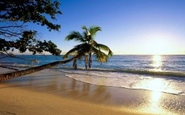 Sunny beach and the sea are stylish and cool photographic wallpaper on your desktop.