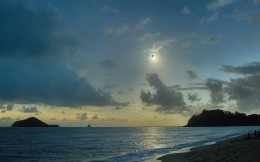 The sea shore sky eclipse