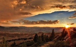 A beautiful sunrise over the hills, photo wallpaper