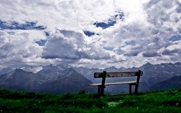 A bench at the top of the mountain