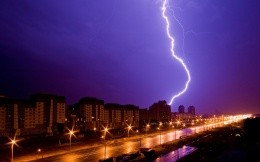 A lightning strike in the city