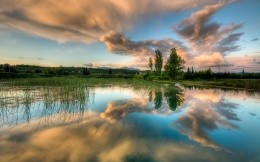 Sky reflection river