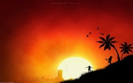 Sky, sun, sunset, palm trees, sunsets, the land, the city - a background for your desktop