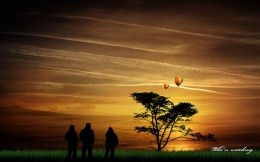The night sky, people, balloons, wood, grass - Picture