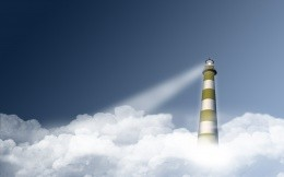 The sky, clouds, lighthouse - a futuristic wallpaper